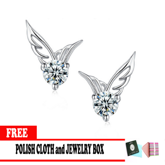 925 Silver Angel Wings Crystal Stud Earring with Free Polish Cloth and Jewelry Box