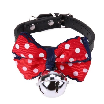 Adjustable Lovely Bow Cats Dog Tie Bowtie Collar Pet Supplies BellNecktie (Black + Red) - intl