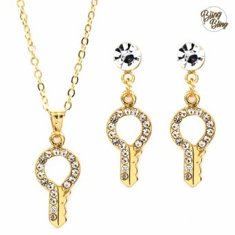 Bling Bling Key Earrings and Necklace Jewelry Set (Gold)