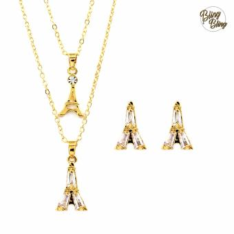 Bling Bling layered Eiffel Tower Necklace with Earrings Jewelry Set(Gold)