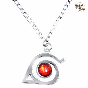 Bling Bling Naruto Shippuden Konoha Fashionable Pendant Necklace (Silver/ Red)