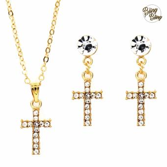 Bling Bling Thin Cross Earrings and Necklace Jewelry Set (Gold)