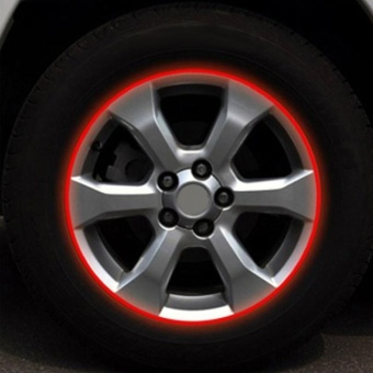 Blue Red Reflective Motorcycle Car RIM Stripe Wheel Decal TapeSticker 17 Strips - intl
