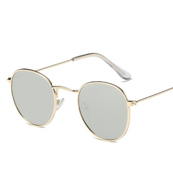 Brand Unisex Retro Aluminum Sunglasses Polarized Lens Vintage Eyewear Accessories Sun Glasses For Men/Women (Gold+Grey) - intl