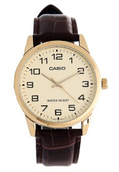 Casio Analog Mens Leather Strap Watch MTP-V001GL-9BUDF
