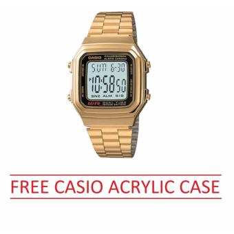 Casio Womens Gold Stainless Steel Strap Watch A178WGA-1ADF Free Casio Acrylic Case