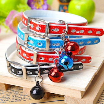 Cat Collar with Safety Buckle Bell Leather Dog Puppy Cat CollarsDog Necklace Adjustable Leather Bell Puppy Collar Pet Supplies 1pcs(Multicolor) - intl