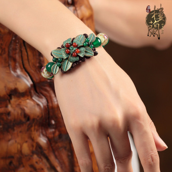Chinese-style national style green female glass agate bracelets bracelet