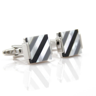 Classic new striped Shell puzzle cufflinks