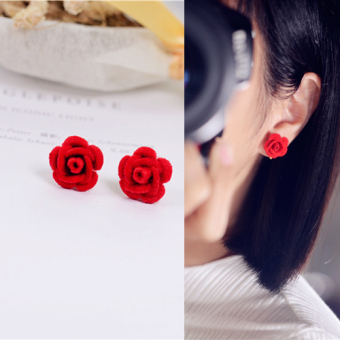 Cute flocking Rose Flower stud elegant earrings