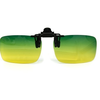 Day Night Vision Glasses Clip Anti-glare Polarized Lens EyewearEyeglasses Sun Glasses With Superior Glasses Case Dark Green