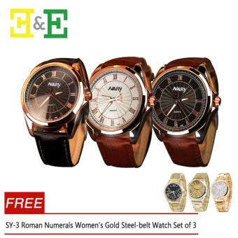 E&E NARY 336 Roman Numerals Business Men Leather Strap QuartzWristwatch Set of 3 With Free Geneva SY-3 Roman Numerals Women'sGold Steel-belt Watch Set of 3