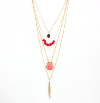 European and American style pink origional development four layer necklace
