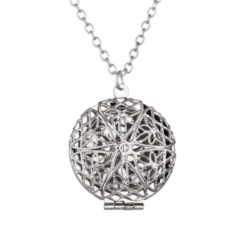 Fancyqube Round Locket Aromatherapy Locket Pendant Necklace RoundHollow out star shaped Essential Oils Diffuser White - intl