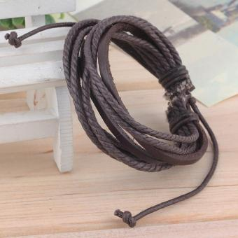 Fashion Multilayer PU Leather Wristband Cuff Bracelet (Brown)