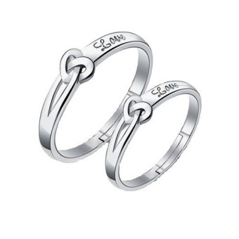 Fashion s925 Silver Adjustable Couple Rings for Lovers gift(silver)
