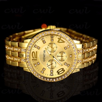 Geneva 299 Women'S Gold Stainless Steel Strap Watch With Free Stainless Steel Mini Cross Stud Earring