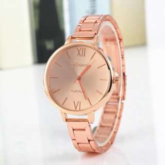 Geneva Roman Numerals Gold Steel-belt Watch (ROSEGold)