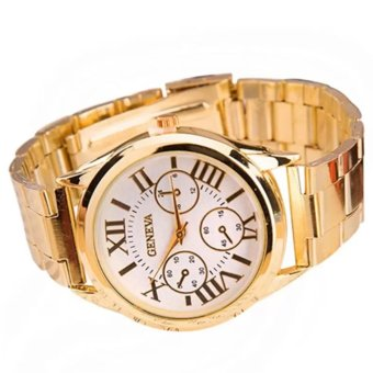 Geneva Roman Numerals Stainless Steel Luxury Women's Watch (Gold/White)