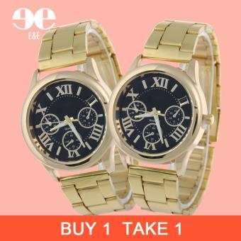 Geneva SY-3 Roman Numerals Women's Gold/Black Steel-belt Watch BUY 1 TAKE 1