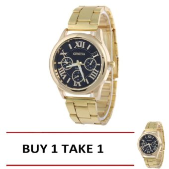 Geneva SY-3 Roman Numerals Women's Gold/Black Steel-belt Watch BUY1 TAKE 1