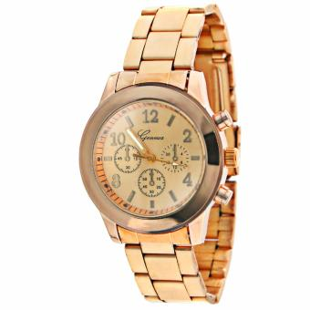 Geneva Unisex Rose Gold Stainless Steel Strap Watch