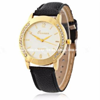Geneva Women's Crystal Studded Classic Black Leather Strap Watch