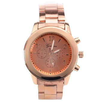 GENEVA Women's Stainless Steel Quartz Strap Watch (Rose Red Gold)