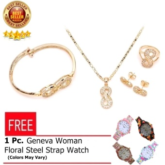 Glamorosa Diamond Infinity 8 Accessories Set (Gold) with FREE Geneva Womens Floral Stainless Steel Strap In Accorted Color Watch