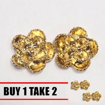 Glamorosa Rose Flower Golden Blush Earrings Buy 1 Take 2