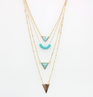 Green loose European and American style origional development four layer necklace