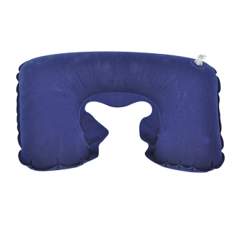 Inflatable U Shaped Pillow Car Head Neck Rest Air Cushion forTravel Navy