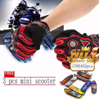 JAPAN and USA best selling free 3pcs mini scooter Full FingerMotorcycle Cycling Racing Riding Protective Gloves (Black+red)