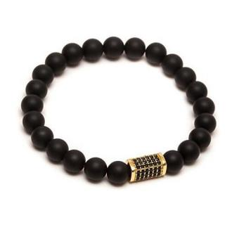 Joy 8mm frosted Agate Bracelet-Gold