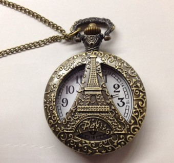 Korean-style Large Porous Eiffel Tower pocket watch