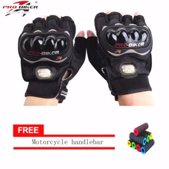 lazada and USA best selling BLACK/SLIVER Fingerless MotorcycleGloves Half Finger Guantes Motorcross Bicycle Riding Racing CyclingSport Gears Breathable Luvas (Black) With Motorcycle handlebarsleeve