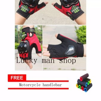 lazada and USA best selling colour RED Fingerless Motorcycle Gloves Half Finger Guantes Motorcross Bicycle Riding Racing Cycling Sport Gears Breathable Luvas (Black) With Motorcycle handlebar sleeve