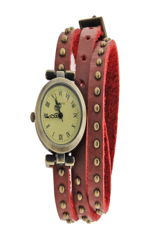 Leather Strap Roma Number Dial Quartz Woman Watch (Red)