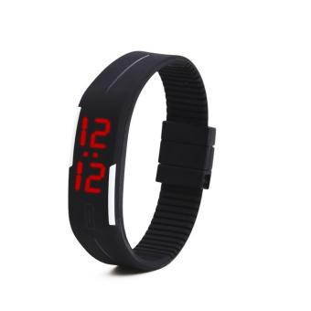 LED Watch Date Sports Digital Rubber Wristband Rectangle Dial Bracelet