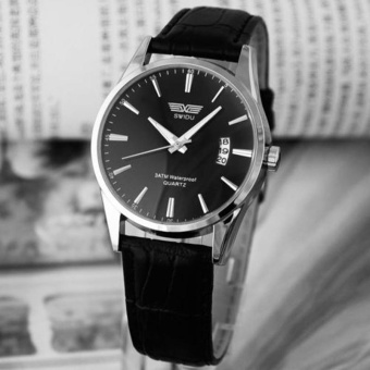 Luxury Black Leather Strap Calendar Quartz Mens Date Wrist Watch Black - intl