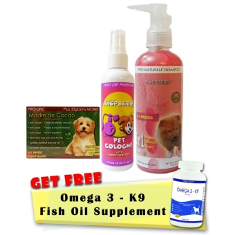 Madre de Cacao Organic Soap 135g, Raspberry Organic Shampoo 250mL and Cologne 100mL with Free Omega-3 Fish Oil 30 Soft Gels