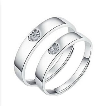 Men Women Couple Ring Silver Lovers Engagement Band Promise Rings Gift With Box