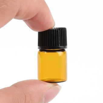 Mini Refillable 100PC Empty Amber Glass Aromatherapy Container 2ml Travel Bottle - intl