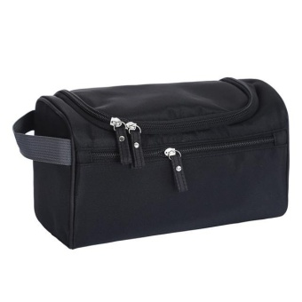 New Large Waterproof Makeup Bag Women and Men Wash Toiletry Bag Nylon Travel Cosmetic Bag NO.1 (Black) - intl