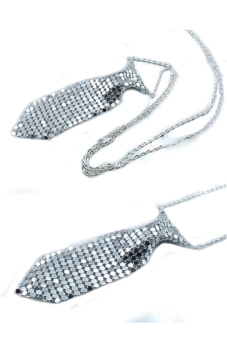 OEM Necktie Tie Shaped Necklace Silver - picture 2