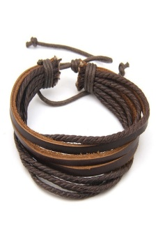 Okdeals Surfer Tribal Wrap Multilayer Leather Cuff Bracelet Dark(Brown)