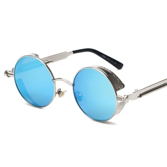 Peekaboo Steampunk Sunglasses High Quality Retro Women Round Metal Frame Blue lens Sun Glasses Male Female Sun Shade Uv400(Blue Lens) - intl