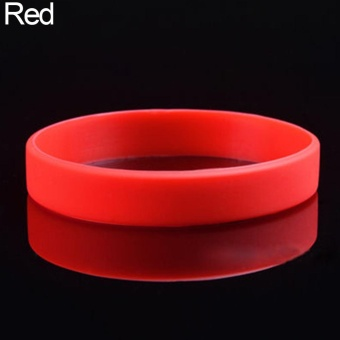 Phoenix B2C 2 Pcs Men Women Silicone Wristbands Solid Color Sports Bracelet Bangle Gift (Red) - intl