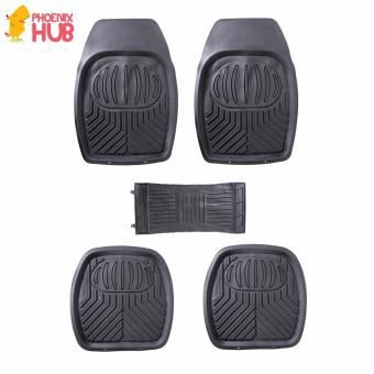 PhoenixHub All Weather Rubberized UNIQUE Designed universal floorguard car mats set (BLACK)