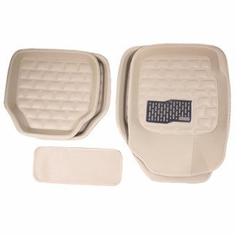 PhoenixHub Leather look premium universal floor guard car mats set(BEIGE)